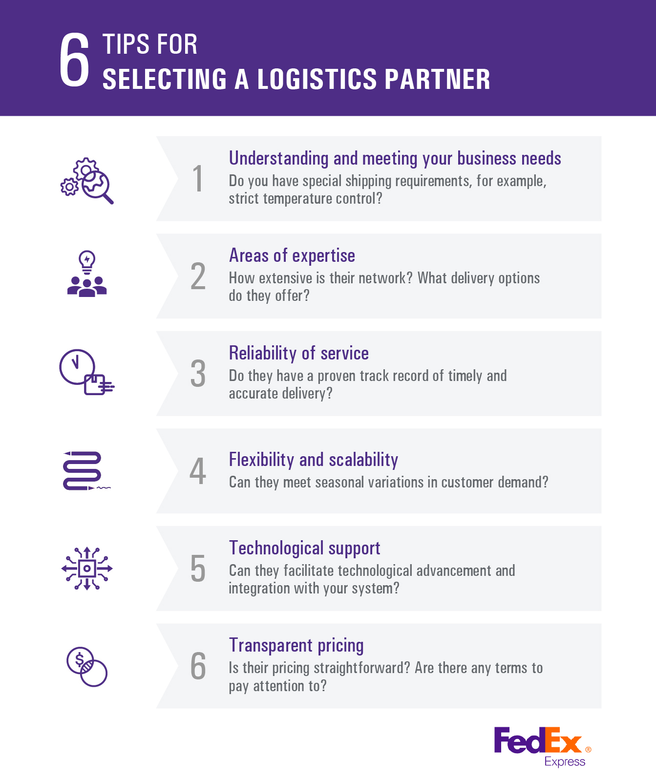 6 Tips for selecting a logistics partner